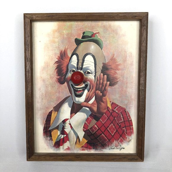 Vintage Other - VTG Arthur Sarnoff Happy Clown Musical Framed Art